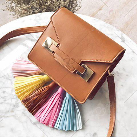 Outfit Metal Detail Tassels Crossbody Bag - BROWN  Mobile