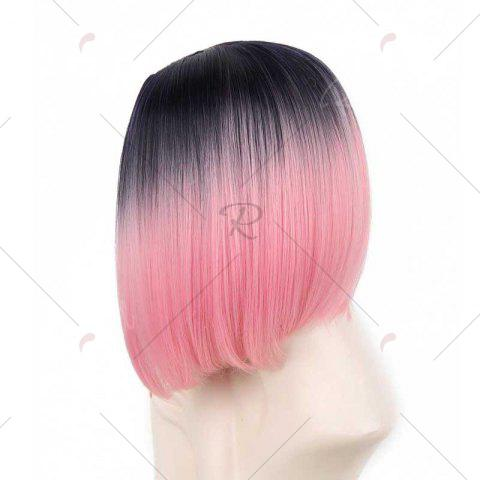 Online Short Center Part Straight Ombre Inverted Bob Synthetic Wig - BLACK AND RED  Mobile