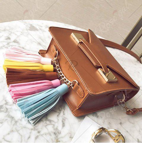 Online Metal Detail Tassels Crossbody Bag - BROWN  Mobile