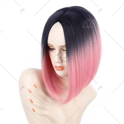 Cheap Short Center Part Straight Ombre Inverted Bob Synthetic Wig - BLACK AND RED  Mobile