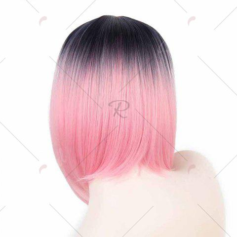 Latest Short Center Part Straight Ombre Inverted Bob Synthetic Wig - BLACK AND RED  Mobile