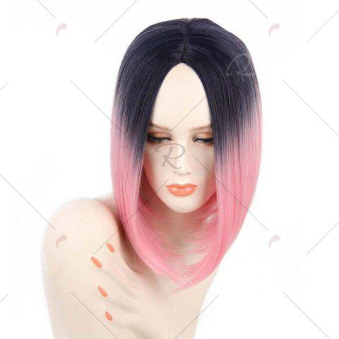 Store Short Center Part Straight Ombre Inverted Bob Synthetic Wig - BLACK AND RED  Mobile