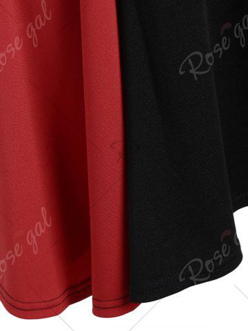 Outfits Asymmetrical Color Block Mini Dress - S BLACK AND RED Mobile