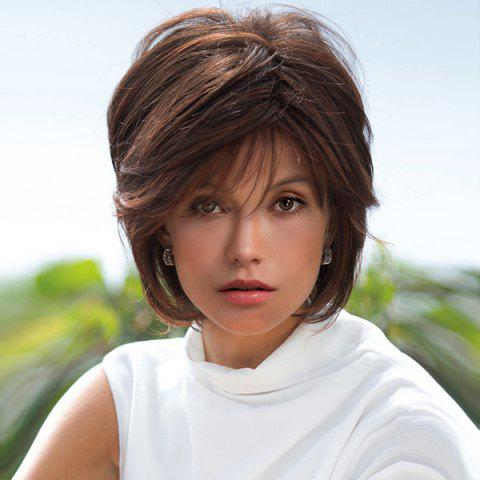 Short Side Bang Layered Straight Highlight Synthetic Wigs - Colormix