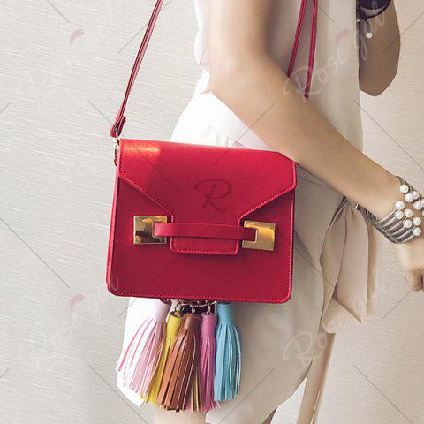 Outfits Metal Detail Tassels Crossbody Bag - RED  Mobile