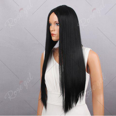 Affordable Middle Part Long Silky Straight Synthetic Wig - BLACK  Mobile
