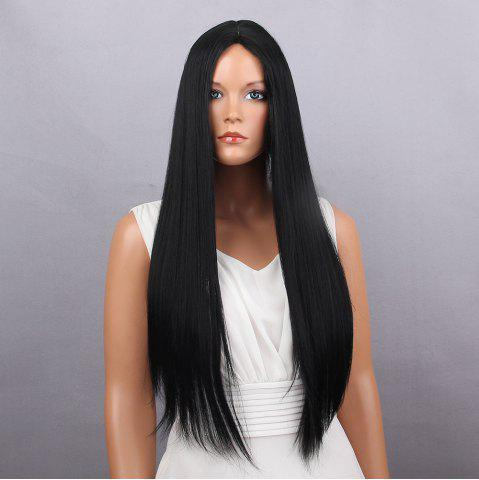 Sale Middle Part Long Silky Straight Synthetic Wig BLACK