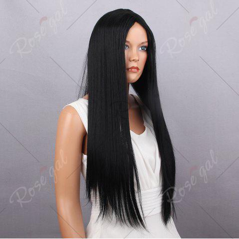 Chic Middle Part Long Silky Straight Synthetic Wig - BLACK  Mobile