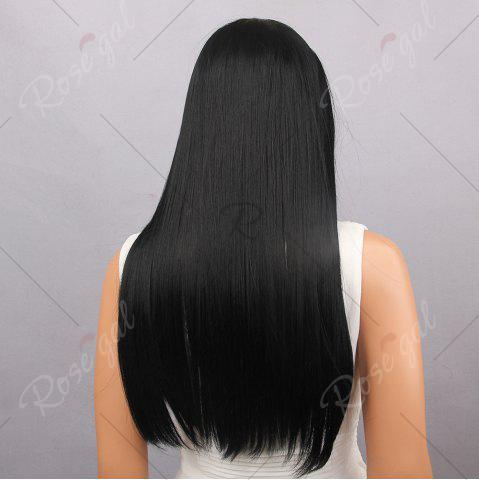 Hot Middle Part Long Silky Straight Synthetic Wig - BLACK  Mobile