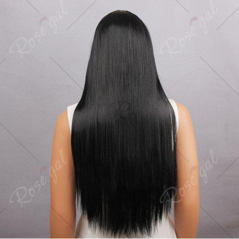 Best Long Full Bang Silky Straight Synthetic Wig - BLACK  Mobile