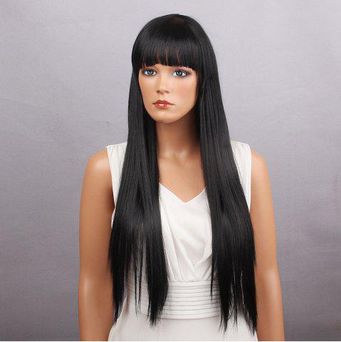 Latest Long Full Bang Silky Straight Synthetic Wig BLACK