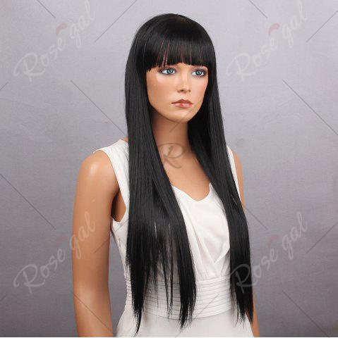 Affordable Long Full Bang Silky Straight Synthetic Wig - BLACK  Mobile