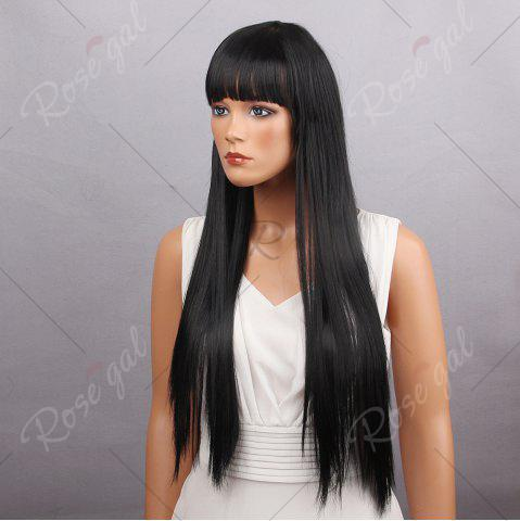 Hot Long Full Bang Silky Straight Synthetic Wig - BLACK  Mobile