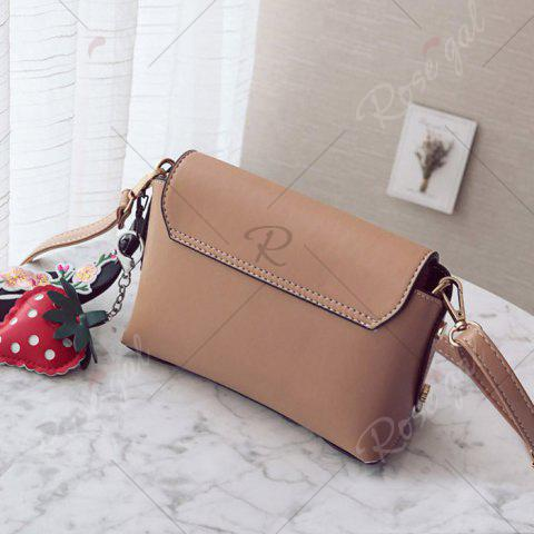 Sale Metal Embellished Hangings Crossbody Bag - KHAKI  Mobile