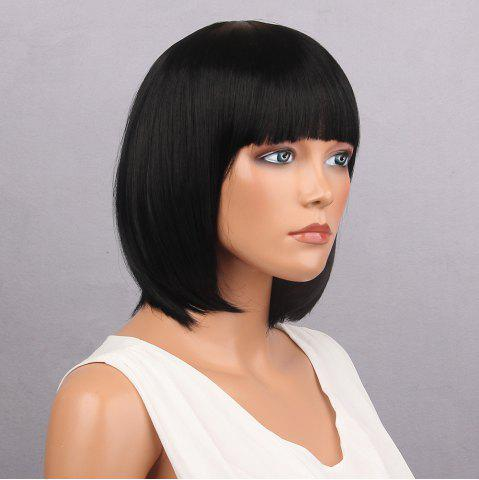 Sale Short Full Bang Bob Straight Synthetic Wig - BLACK  Mobile