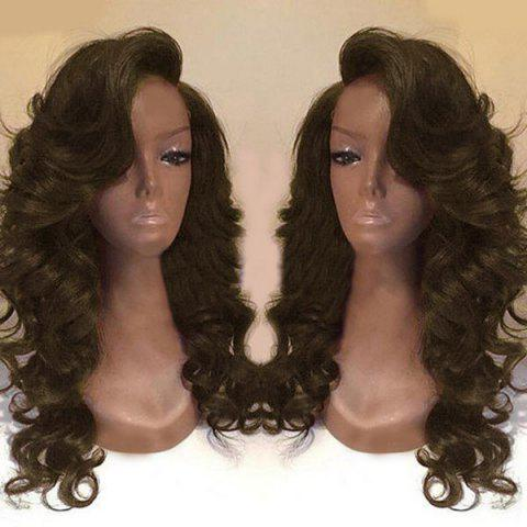 Discount Deep Side Part Long Body Wave Synthetic Wig - BROWN  Mobile