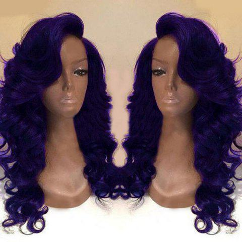 Fashion Deep Side Part Long Body Wave Synthetic Wig - PURPLE  Mobile