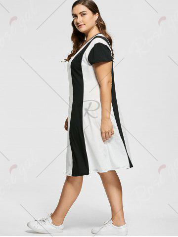 Buy Two Tone Knee Length Plus Size Casual Dress - XL MULTICOLOR Mobile