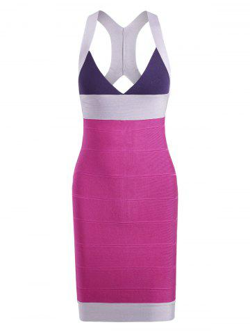 Online Color Block V Neck Bodycon Bandage Cage Dress - S COLORMIX Mobile