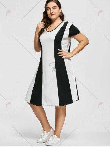 Latest Two Tone Knee Length Plus Size Casual Dress - XL MULTICOLOR Mobile