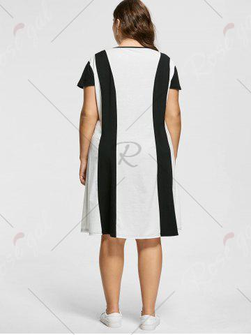Hot Two Tone Knee Length Plus Size Casual Dress - XL MULTICOLOR Mobile