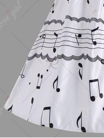 Unique Halter Music Note High Waist Party Dress - S WHITE Mobile