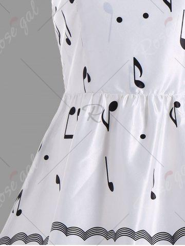 Buy Halter Music Note High Waist Party Dress - S WHITE Mobile
