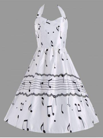 Fancy Halter Music Note High Waist Party Dress - S WHITE Mobile