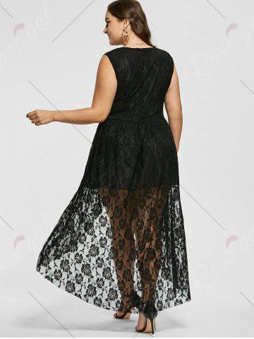 New Sleeveless High Low Plus Size Lace Dress - XL BLACK Mobile