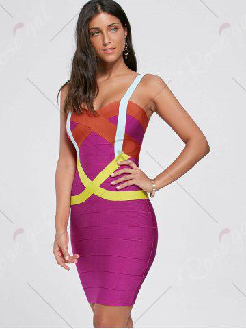 Hot Club Color Block Spaghetti Strap Bandage Dress - L TUTTI FRUTTI Mobile