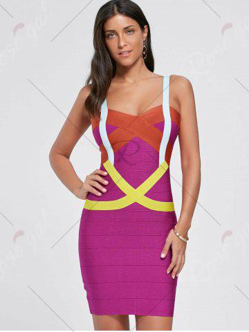 Buy Club Color Block Spaghetti Strap Bandage Dress - L TUTTI FRUTTI Mobile