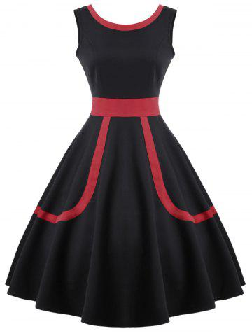 Shops Contrast Fit and Flare Vintage Dress - S BLACK Mobile