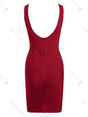 Shops Club Sleeveless Mini Bandage Fitted Tight Dress - S RED Mobile
