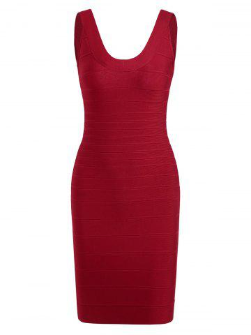 Affordable Club Sleeveless Mini Bandage Fitted Tight Dress - M RED Mobile