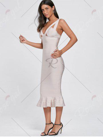 Outfits Maxi Mermaid Cut Out Bandage Dress - S LIGHT BEIGE Mobile