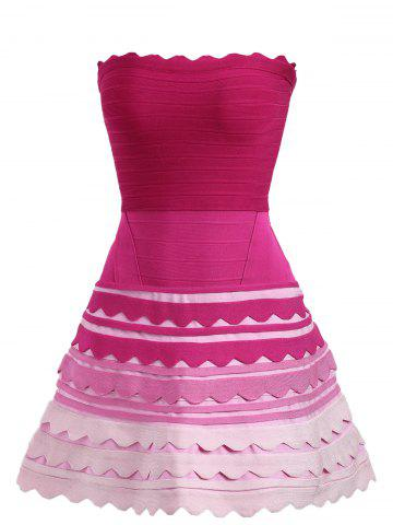 Night Out Ombre Color Tube Bandage Dress - Rose Red - Xl