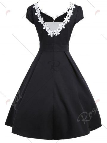 Latest Contrast Color Appliques Vintage Dress - S BLACK Mobile