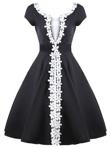 Online Contrast Color Appliques Vintage Dress - S BLACK Mobile