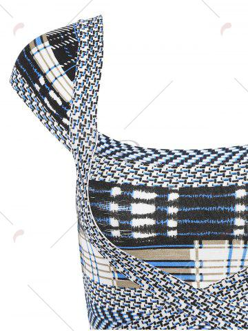 Outfit Cap Sleeve Plaid Bandage Dress - S GRAY Mobile
