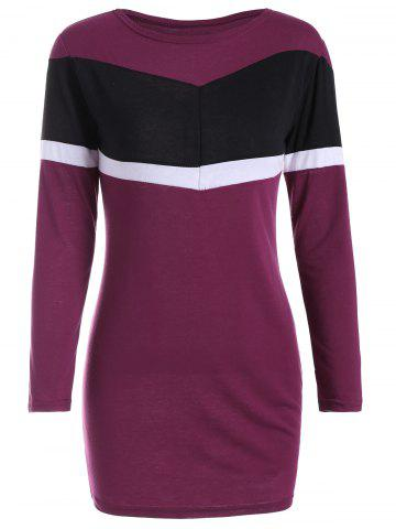 Color Block Long Sleeve Bodycon Dress - Purplish Red - S