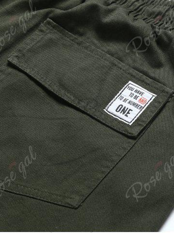 Sale Back Pockets Drawstring Beam Feet Jogger Pants - L ARMY GREEN Mobile