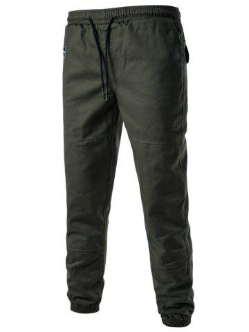 Online Back Pockets Drawstring Beam Feet Jogger Pants - L ARMY GREEN Mobile