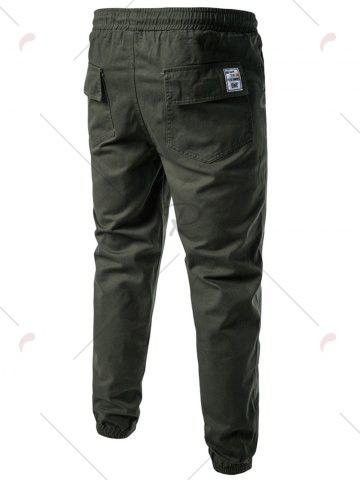 Discount Back Pockets Drawstring Beam Feet Jogger Pants - L ARMY GREEN Mobile