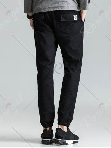 Outfit Back Pockets Drawstring Beam Feet Jogger Pants - 3XL BLACK Mobile