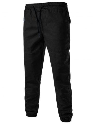 Fashion Back Pockets Drawstring Beam Feet Jogger Pants BLACK L