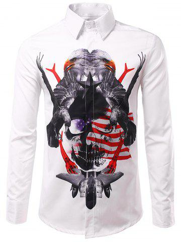 Sale Symmetrical 3D Eagles Print Patriotic Shirt WHITE 3XL