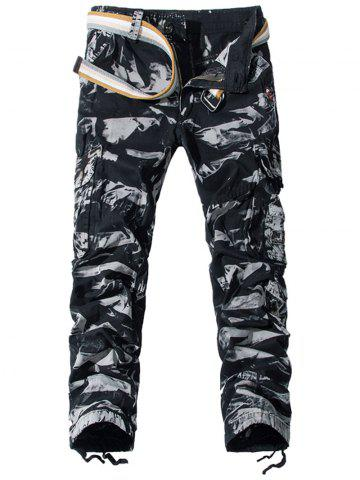 Discount Camouflage Pockets Embellished Zipper Fly Cargo Pants CAMOUFLAGE 36