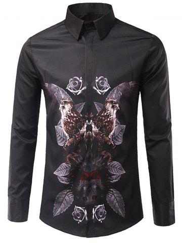 Outfit 3D Symmetrical Leaves and Florals Print Shirt BLACK M