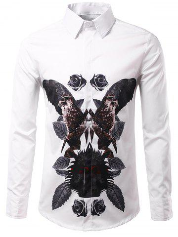 Outfits 3D Symmetrical Leaves and Florals Print Shirt WHITE 3XL
