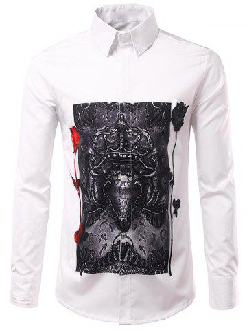 Discount Long Sleeve 3D Roses Crown Print Shirt - 3XL WHITE Mobile